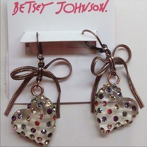 Betsey Johnson Lucite Heart Bow Earrings NWT